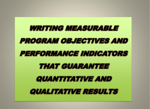 writing measurable program objectives and performance indicators