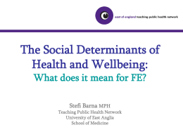 Social Determinants of Health and Wellbeing