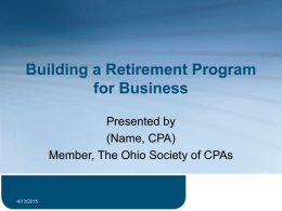 Building a Retirement Program