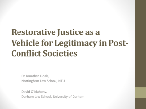Restorative Justice as a Vehicle for Legitimacy in Post