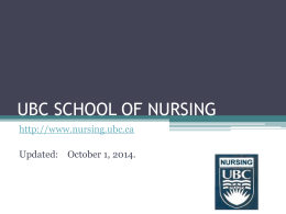 UBC SCHOOL OF NURSING