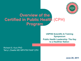 The National Board of Public Health Examiners (NBPHE)