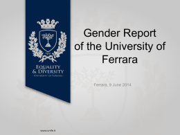 Gender Report of the University of Ferrara
