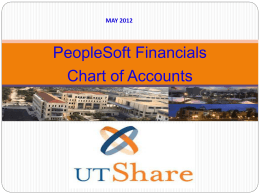 PeopleSoft FMS Chart of Accounts - The University of Texas at San