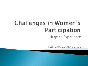 Challenges in Women Participation CEO Haryana