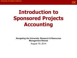 Sponsored Projects Accounting (SPA)