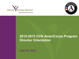 2012-2013 CVN AmeriCorps Program Director Orientation