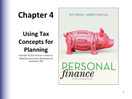 Chapter 4 Using Tax Concepts for Planning