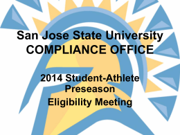Beginning of the Year Powerpoint - San Jose State University Athletics