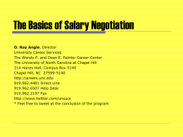 Negotiating the Win-Win Job Offer - The University of North Carolina