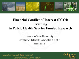 PHS FCOI Training Template - Colorado State University