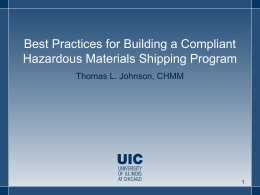 (HazMat)Transportation Compliance Program