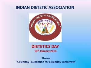INDIAN DIETETIC ASSOCIATION DIETETICS DAY 10th January