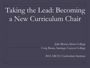 Taking the Lead: Becoming a New Curriculum Chair