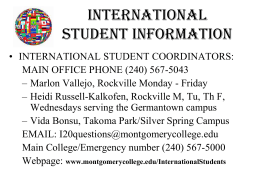International Student Information (Handout)
