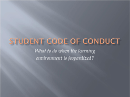 Student Code of Conduct Presentation
