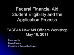 Federal Financial Aid Student Eligibility and the