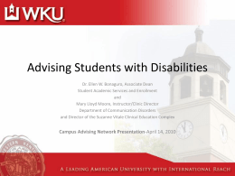 Advising Students with Disablities