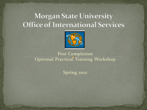 OPT Online Workshop - Morgan State University