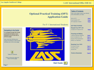 OPT Application Guide - Los Angeles Southwest College