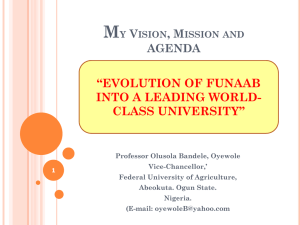 evolution of funaab into a leading world class university