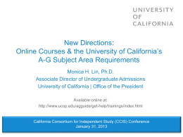 UC New Online Course Policy - University of California | Office of