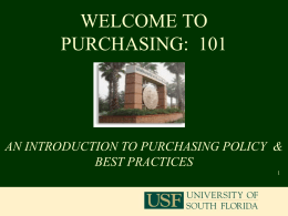 Purchasing 101 - USF Health - University of South Florida