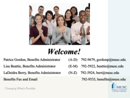Benefits Presentation - Medical University of South Carolina