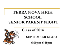 SENIOR YEAR Class of 2009 - terra nova shadow programs