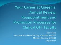 Career Progression for Clinical Faculty