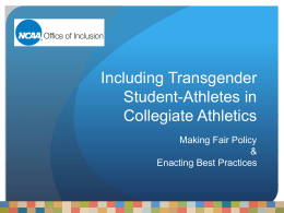 Including Transgender Student-Athletes in Collegiate Athletics