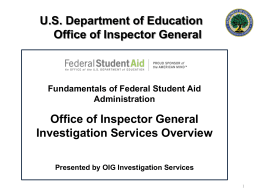 US Department of Education Office of Inspector General