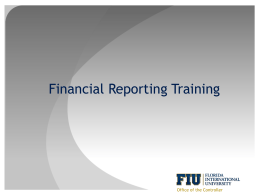 Financial Reporting Training - Office of Finance & Administration