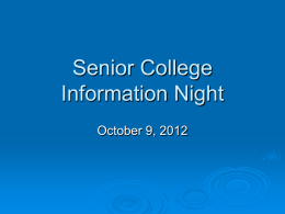 Senior College Night Presentation