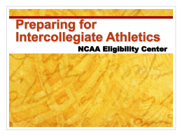Preparing for Intercollegiate Athletics