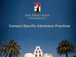 Fall 2012 Admission Process Transfer Admission Guarantee (TAG)