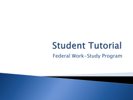 Student Federal Work Study Tutorial