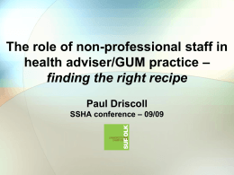 The role of non-professional staff in health adviser/GUM practice
