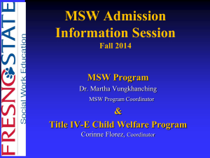 MSW Admissions - PowerPoint Presentation