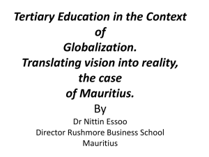 Tertiary Education in the Context of Globalization. Translating vision