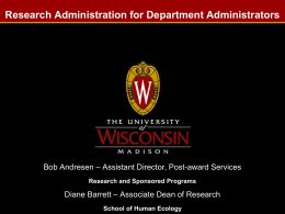 Research Administration for Department Administrators