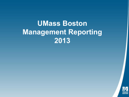 Management Reporting - University of Massachusetts Boston