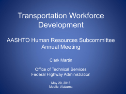 Transportation Workforce Development - AASHTO