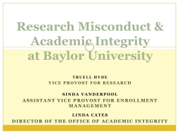Research Misconduct and Academic Integrity