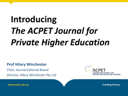 ACPET Journal for Private Higher Education