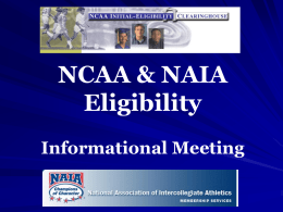 Eligibility Center Registration
