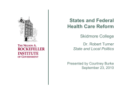 States and Federal Health Care Reform