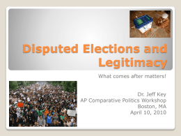 Disputed Elections and Legitimacy