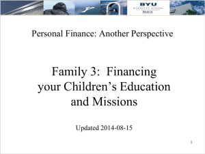 Financing Education and Missions