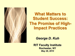 What Matters to Student Success - Rochester Institute of Technology